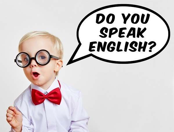 "Kind fragt in Sprechblase ""Do you speak english?"""