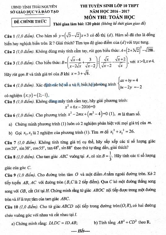Đề thi đáp án vào lớp 10 môn toán Thái Nguyên 2016