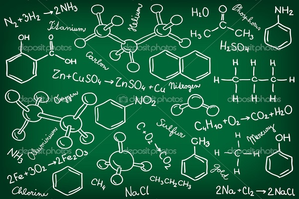 Chemistry background - molecule models and formulas, hand-drawn illustration