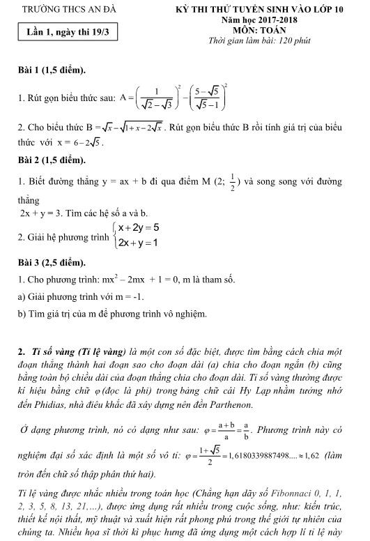 Đề thi thử vào lớp 10 môn toán