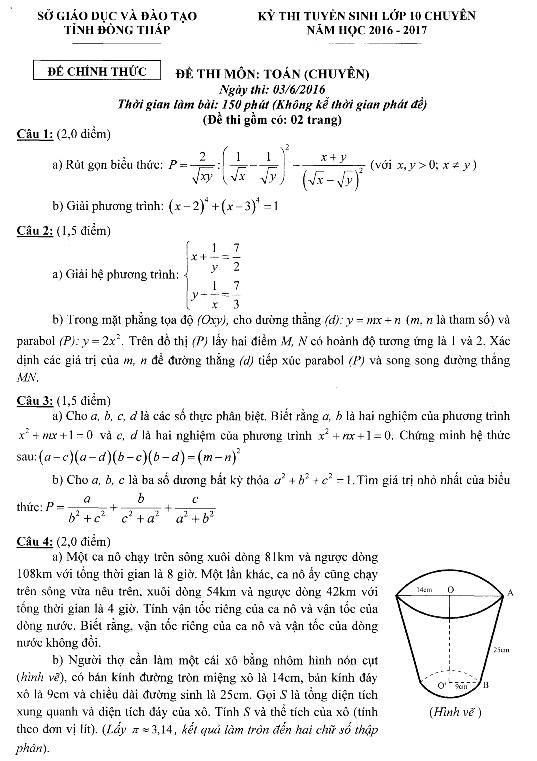 Đề thi vào lớp 10 môn toán chuyên