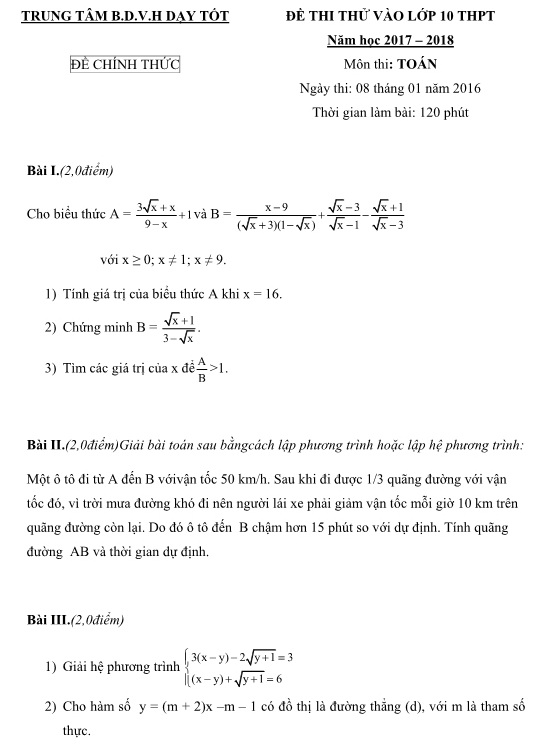 Đề thi thử vào lớp 10 môn toán năm 2017